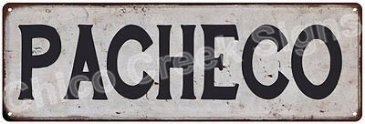 PACHECO Vintage Look Rustic Metal Sign Shabby Chic Family Name 6186853