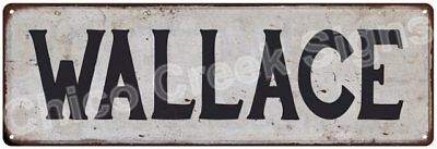 WALLACE Vintage Look Rustic Metal Sign Shabby Chic Family Name 6186770