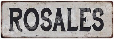 ROSALES Vintage Look Rustic Metal Sign Shabby Chic Family Name 6186877