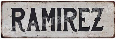 RAMIREZ Vintage Look Rustic Metal Sign Shabby Chic Family Name 6186758