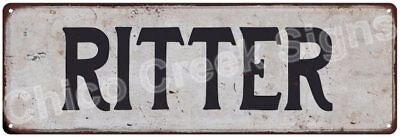 RITTER Vintage Look Rustic Metal Sign Shabby Chic Family Name 6186740