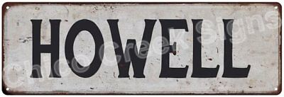 HOWELL Vintage Look Rustic Metal Sign Shabby Chic Family Name 6186567
