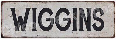 WIGGINS Vintage Look Rustic Metal Sign Shabby Chic Family Name 6186889