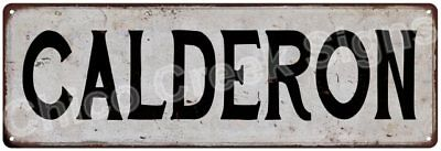 CALDERON Vintage Look Rustic Metal Sign Shabby Chic Family Name 6187014