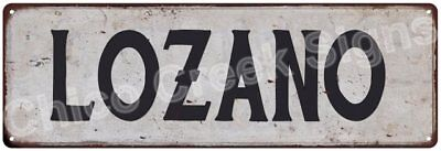 LOZANO Vintage Look Rustic Metal Sign Shabby Chic Family Name 6186675