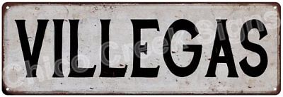 VILLEGAS Vintage Look Rustic Metal Sign Shabby Chic Family Name 6187050