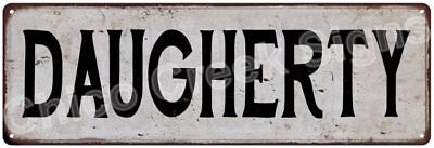 DAUGHERTY Vintage Look Rustic Metal Sign Shabby Chic Family Name 6187104