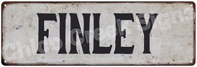 FINLEY Vintage Look Rustic Metal Sign Shabby Chic Family Name 6186705