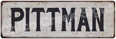 PITTMAN Vintage Look Rustic Metal Sign Shabby Chic Family Name 6186867