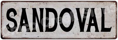 SANDOVAL Vintage Look Rustic Metal Sign Shabby Chic Family Name 6186985