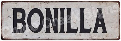 BONILLA Vintage Look Rustic Metal Sign Shabby Chic Family Name 6186938