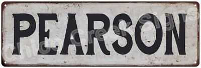 PEARSON Vintage Look Rustic Metal Sign Shabby Chic Family Name 6186804