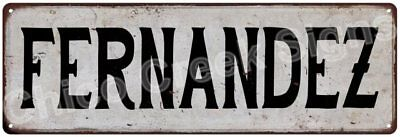 FERNANDEZ Vintage Look Rustic Metal Sign Shabby Chic Family Name 6187063