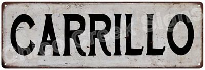 CARRILLO Vintage Look Rustic Metal Sign Shabby Chic Family Name 6187005