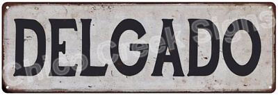 DELGADO Vintage Look Rustic Metal Sign Shabby Chic Family Name 6186805