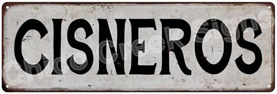 CISNEROS Vintage Look Rustic Metal Sign Shabby Chic Family Name 6187041
