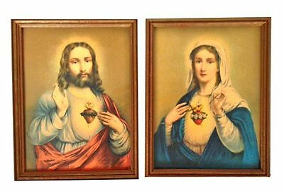 JESUS & MARY Antique Lithograph Prints Framed Heart Catholic Religious Church