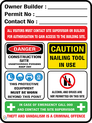 Owner Builder Construction Site Safety Sign - Various Sizes & Substrate Options
