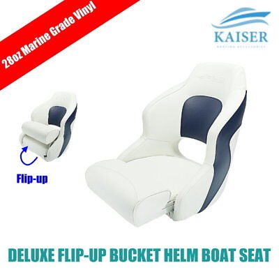 Deluxe Flip-up Bolster Bucket Helm Sport Captain's Chair Boat Seat White/Blue