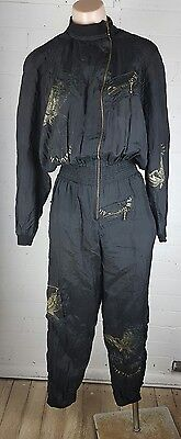 Vintage 80s Sz 8-10 Parachute Jumpsuit Party Costume Festival XS-S Black Womens