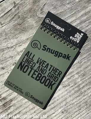 Snugpak All Weather Water Resistant Grid & Lined Notebook Notepad Bushcraft