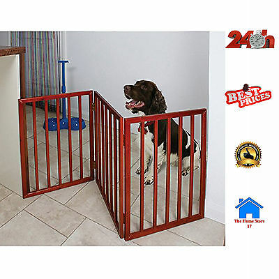 Dog Safety Gate Folding Pet Wooden 3 Part Portable Indoor Small Fence Barrier