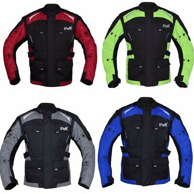 HWK Textile Cordura Long Motorcycle Jacket Motorbike 100% Waterproof CE ARMOURED