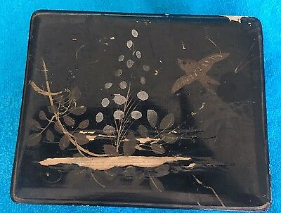 Vintage Japanese Black Lacquer Box With Hand Painted Bird And Tree On Lid