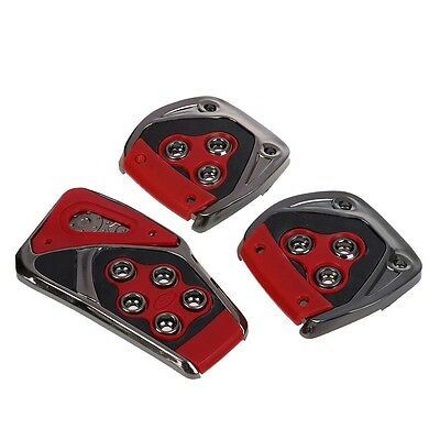 New Durable Practical Red Black Nons Pedal Pad Cover 3 Pcs for MT Auto Car A2X4