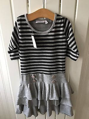 Little Girl's Clothes 3-4 Years - BNWT Grey & Black RaRa Style Dress