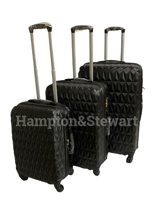 """Suitcase 4 Wheel Spinner Hard Shell Luggage Trolley Cabin Case 20"""" 24"""" 28"""" Black"""