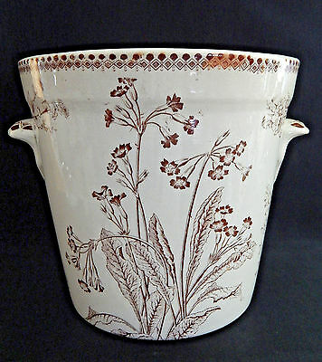 XL Antique Brown Transferware English CHAMBER POT Slop Jar Pail Bucket, No Lid