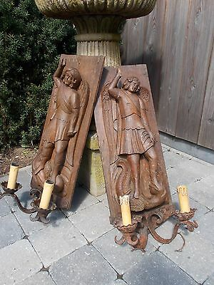 Pair Antique Gothic Wood Carving St. Michael And The Dragon Wall Lamp Sconces
