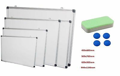 Magnetic Dry Wipe Whiteboard White Notice Memo Board 4 sizes with Magnets+Eraser