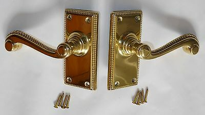 Brass Door Handle Rope Edge with spindle (pair) (used)