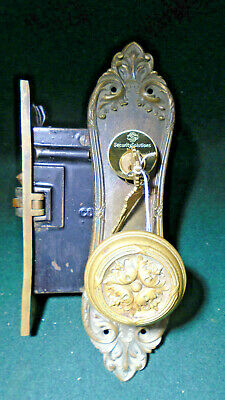 "VINTAGE CORBIN ENTRY MORTISE LOCK w/KEY  WORKS GREAT!  7 5/8"" FACEPLATE (9030)"