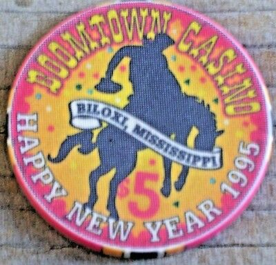 $5 Ltd Happy New Year 1995 Gaming Chip From The Boomtown Casino Biloxi