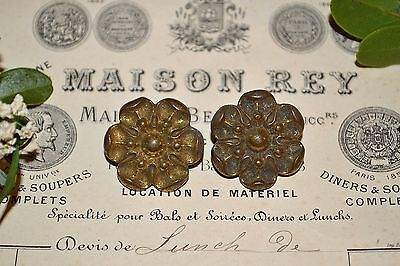 Antique Pair Small French Bronze Rosettes Picture Hook Covers Decoration
