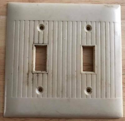 1 Vintage Art Deco Ribbed Wall Plates double switch Cover