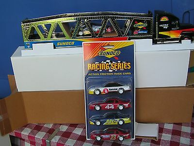 1999 GOLD Sunoco car carrier w/xtra pack of 4 cars--series 6--serial # 2613
