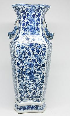 Chinese porcelain Blue and White Dragon Vase ~ 11 inches tall