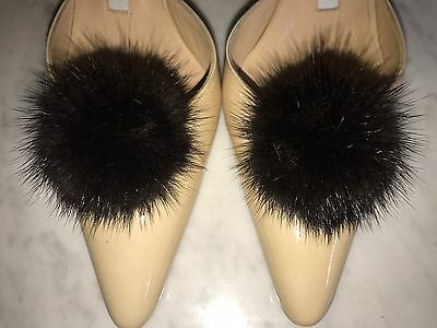 "Mink Fur Shoe Clips Black Pom Pom 2.5"" Shoe Accessories"