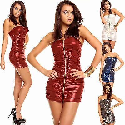 Women Mini Dress Sexy Top Ladies Clubbing Party Bandeau Shirt Size 6 8 10 12