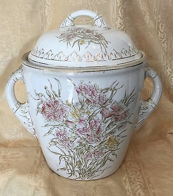 Stunning! Victorian Slop Bucket With Lid And Handles Floral Motif