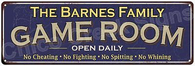 The Barnes Family Game Room Blue Vintage Look Metal 6x18 Sign Wall Decor 6187524