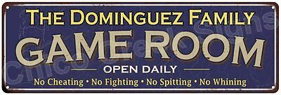 The Dominguez Family Game Room Blue Vintage Look Metal 6x18 Sign Decor 6188072