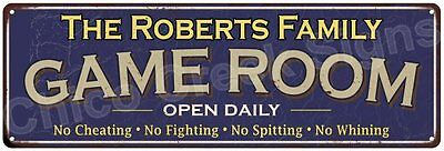 The Roberts Family Game Room Blue Vintage Look Metal 6x18 Sign Decor 6187762