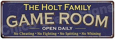 The Holt Family Game Room Blue Vintage Look Metal 6x18 Sign Family Name 6187191