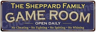 The Sheppard Family Game Room Blue Vintage Look Metal 6x18 Sign Decor 6188050