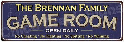 The Brennan Family Game Room Blue Vintage Look Metal 6x18 Sign Decor 6187893